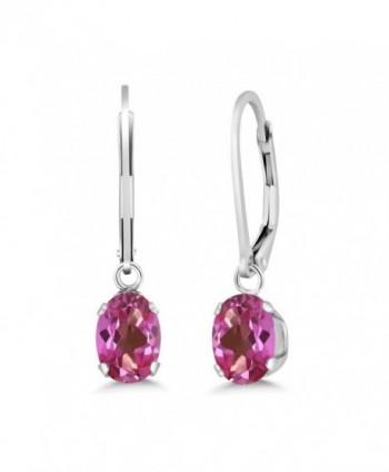 1.90 Ct Oval Pink Mystic Topaz 925 Sterling Silver Women's Earrings - C911L338YB7