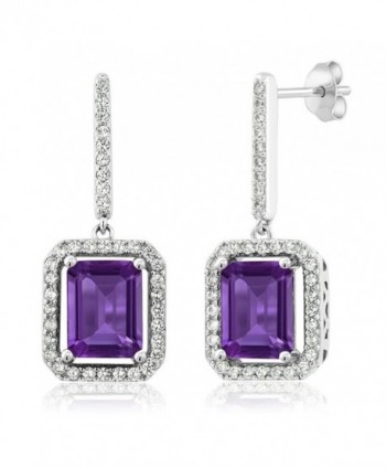 Amethyst Sterling Gemstone Birthstone Earrings - CO11NW86PI5