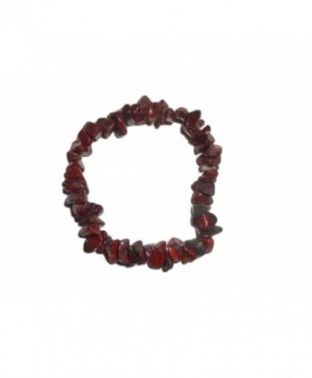 1pc Natural Healing Crystal Red Brecciated Jasper Chip Gemstone 7 Inch Stretch Bracelet - CA110RRKFIZ