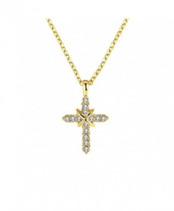 Simple Religious Cross Necklace 18K Gold Plated pendants For Men and Women - CZ12N1MC5BL