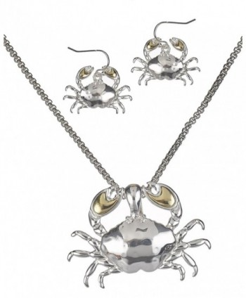 Two Tone Hammered Crab Necklace Magnetic Pendant Earrings & Popcorn Chain By Jewelry Nexus - C511REFR2I9
