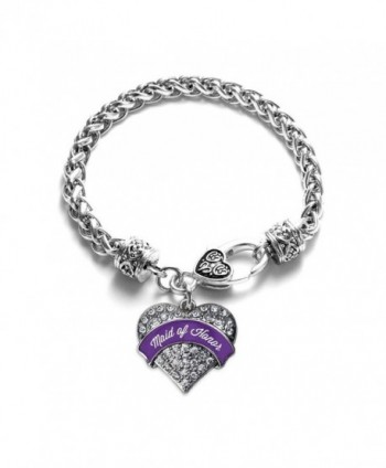 Purple Maid of Honor Pave Heart Bracelet Silver Plated Lobster Clasp Clear Crystal Charm - C8123HZCRKR