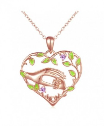ATHENAA Sterling Silver Mother Child Love Heart Pendant Necklace for Mom - CL189SLG3AQ