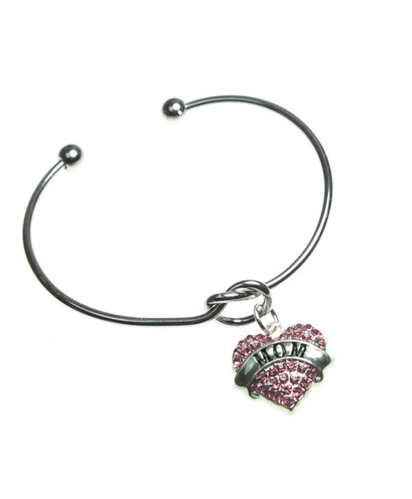 Mom Charm Knot Design Classic Style Silvertone Bangle Bracelet - CB12O3RNLAG