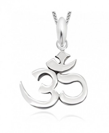 "925 Sterling Silver Yoga Om Ohm Pendant Necklace 18"" for Women - C7126QWT6NT"