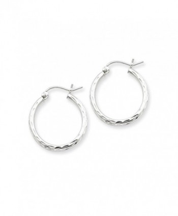 2mm Diamond Cut- Polished Sterling Silver Hoops - 20mm (3/4 Inch) - C4116RRBWZJ