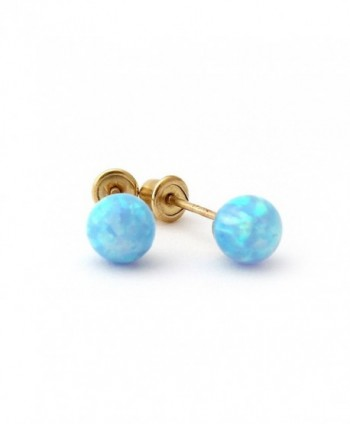 14k Yellow Gold 4mm Simulated Opal Ball with Baby Safe Screwback Earrings - CS11JGIV8MN