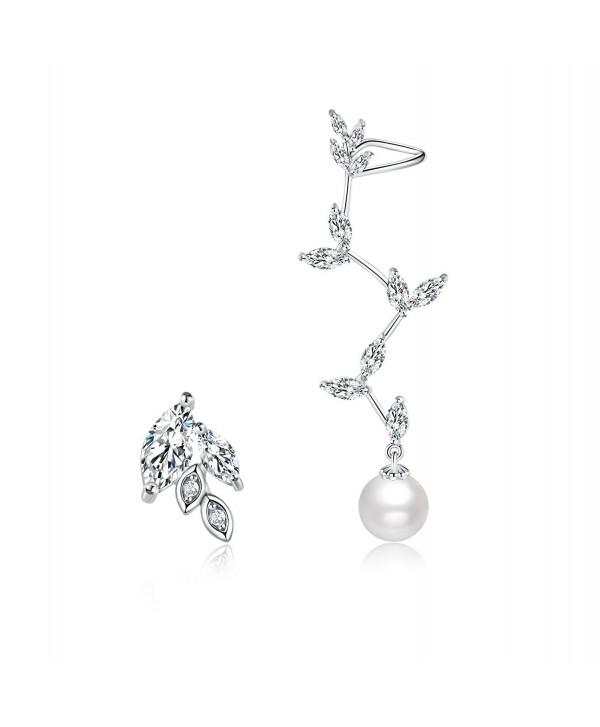 Mevecco Crawler Climber Earrings Pin Pearls2 SL - Pearls2-Silver - CW186L44IOZ
