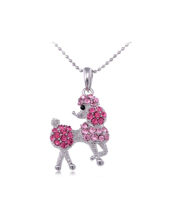 Alilang Silver Tone Rose Pink Rhinestones Poodle Puppy Dog Pendant Necklace - CP115I7VVUF
