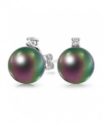 Bling Jewelry Rainbow Peacock Simulated Pearl Stud earrings 925 Sterling Silver 12mm - CS11GA3Y5I5