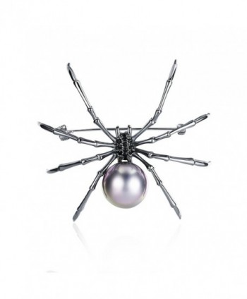 Mytys Jewelry Womens Spider Pin Brooch Drop Pendant for Women Gun Color Plated - C6187HZA2IE