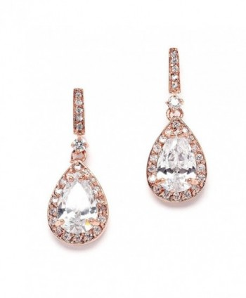 Mariell 14K Rose Gold Plated Cubic Zirconia Bridal Earrings with Pear Shape Drops - Our 1 Small Dangles - CI11ZP6U3WB