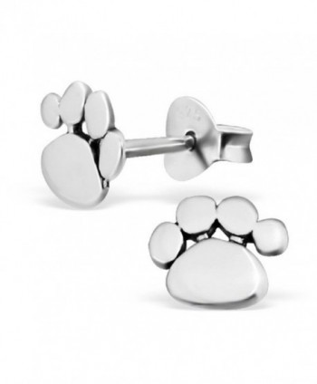 925 Sterling Silver Paw Print Stud Earrings 21170 - CU12D0691XT