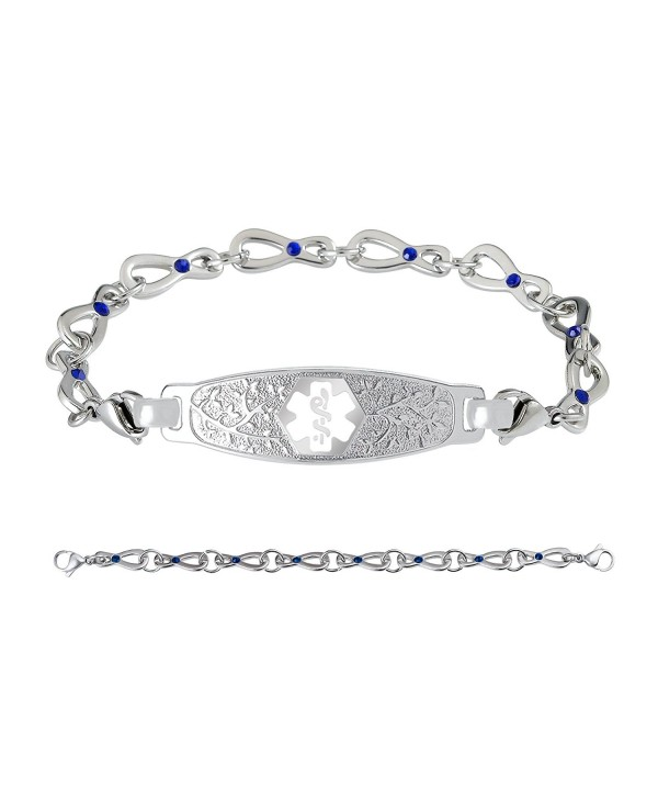 Divoti Custom Engraved Beautiful Olive 316L Medical Alert Bracelet- Infinity Sapphire Crystal Chain-White - CY188KZA7G5