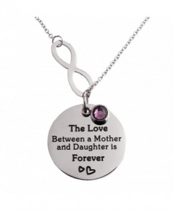 R.H. Jewelry Stainless Steel Pendant Purple Acrylic Charm Mother and Daughter Infinity Love Necklac - CN11LBXD3ZV