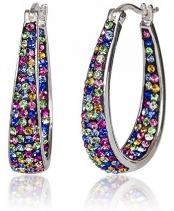 SilverLuxe 925 Sterling Silver Genuine Multi Colored Crystal Hoop Earring - CC12I8NM4QF