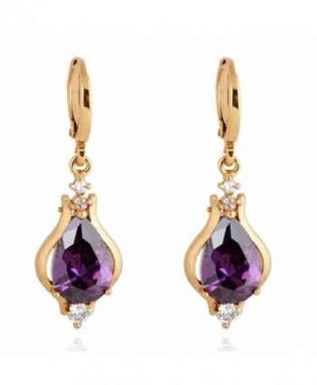 Yazilind Elegant Unique Design 18k Gold Filled Inlay Teardrop Cubic Zirconia Dangle Drop Earrings - Purple - CB11ME95WZ5