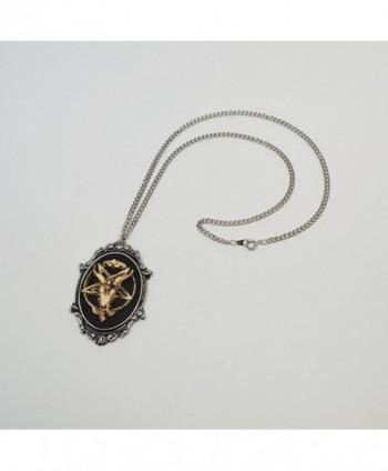 Antiqued Satanic Baphomet Pendant Necklace