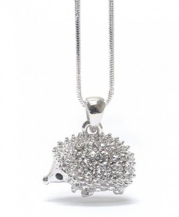 Lola Bella Gifts Crystal Hedgehog Necklace with Gift Box - CA12K9F9VEN