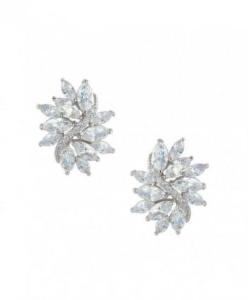 EVER FAITH Women's Cubic Zirconia Elegant Bridal Floral Leaf Pierced Stud Earrings Clear - Silver-Tone - CB11TXB8OON