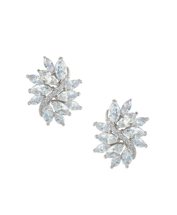 EVER FAITH Women's Cubic Zirconia Elegant Bridal Floral Leaf Pierced Stud Earrings Clear - Silver-Tone - CB11TXB8OON