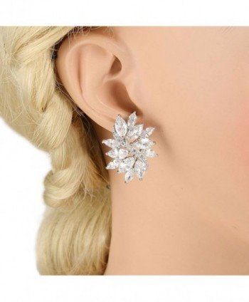 EVER FAITH Zirconia Earrings Silver Tone