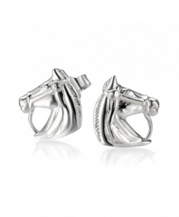 925 Sterling Silver Horse Symbol of success Stud Earrings - C411OTE8WPZ