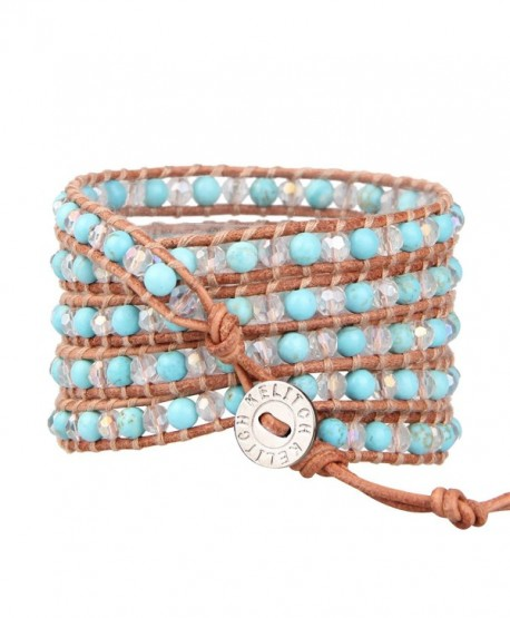 KELITCH Created Turquoise Crystal Leather Bracelet - Blue Turquoise - CW12L53Y427