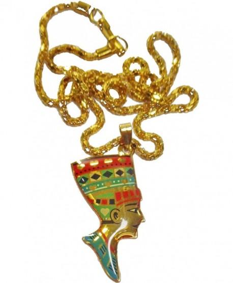 Handmade Egyptian Nefertiti Jewelry Necklace Pendant Enameled Pharaoh Egypt 102 - CL11S46ZCF7
