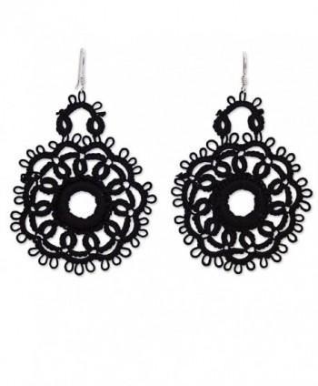 NOVICA Crochet Cotton Dangle Earrings with .925 Sterling Silver Hooks 'Black Flower Blossom' - CU12KLHBIPT