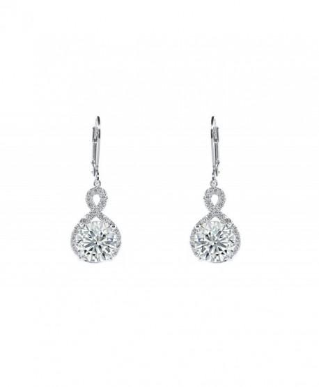 Women's 8MM Cubic Zirconia Infinity Lever Back Drop Earrings - Silver - CW120XPIXTN