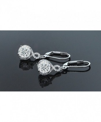 Womens Zirconia Infinity Earrings Silver
