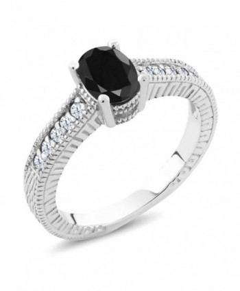 1.47 Ct Oval Black Sapphire White Topaz 925 Sterling Silver Engagement Ring - CV11FGBMD0P