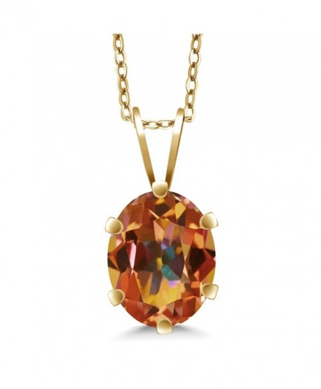 1.60 Ct 8x6mm Oval Shape Ecstasy Mystic Topaz Yellow Gold Plated Silver Pendant - C1118UL1I77