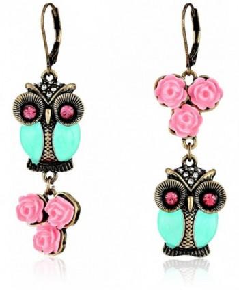 Betsey Johnson Women's Pet Shop Vintage Owl Non-Matching Earrings Blue/Pink Drop Earrings - CB11LUQB1EJ