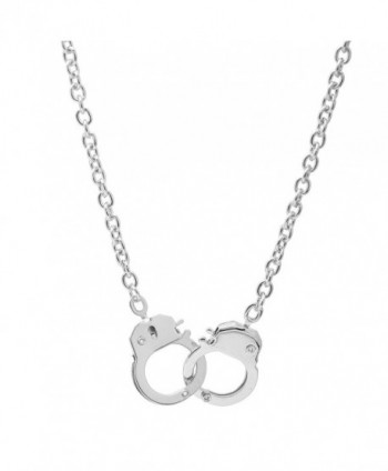 Spinningdaisy High Gloss Finish Silver Plated Handcuff Pendant Necklace - CV118665LBP