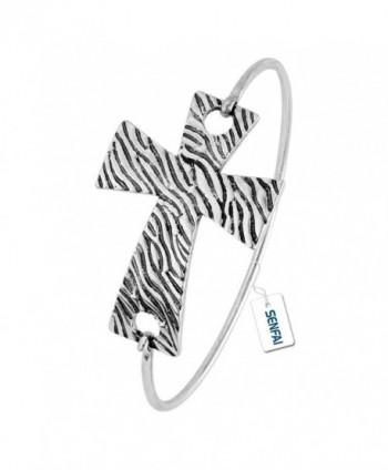 SENFAI Zebra-stripe Cross Bracelet Antique Silver Bangle For Women - CT12N18AVKR