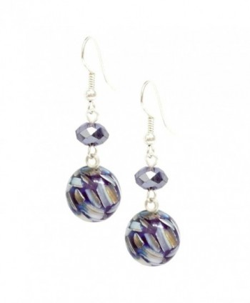 Bleek2Sheek Mulit-color Mosaic Marble and Crystal Dangle Earrings - C311P644EG3