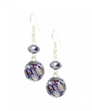 Bleek2Sheek Mulit-color Mosaic Marble and Crystal Dangle Earrings - C311P644EG3