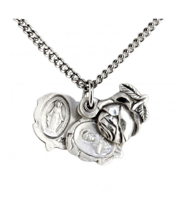Heartland Sterling Silver Large Triple Slide Rose with Miraculous Pendant + USA Made + Chain Choice - CY119PYH3SB