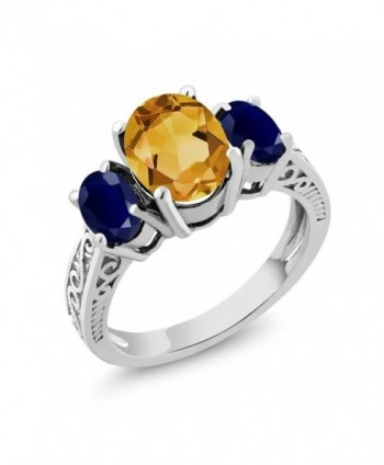 Citrine Sapphire Sterling 3 Stone Engagement - CA11GNAD16R