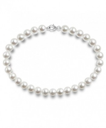 PAVOI Sterling Silver Round White Simulated Shell Pearl Necklace Strand - CK1838XGWO9