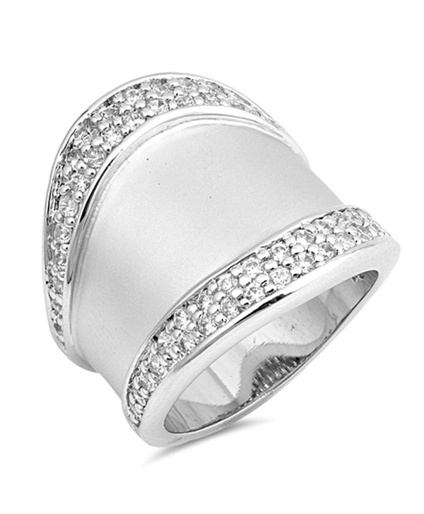 White CZ Wide Bali High Polish Ring .925 Sterling Silver Large Band Sizes 6-9 - CJ185CTSQR5