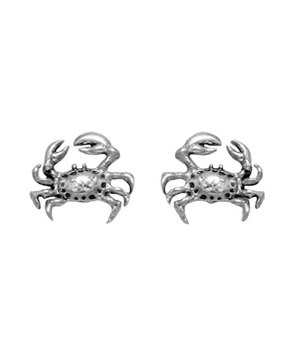 Small Sterling Silver Crab Stud Earrings - CI11DYX4P1H