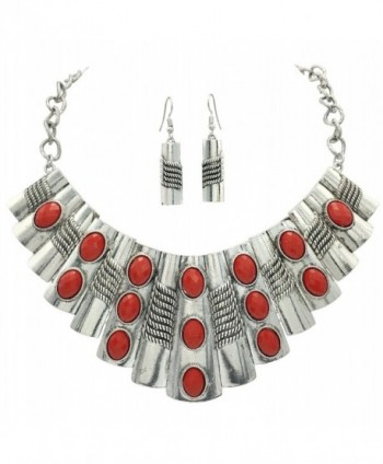 Large Abstract Bib Statement Silver Tone Boutique Necklace & Earrings Set -Assorted Colors - CF184A5OEM6