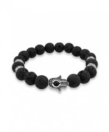 Hamsa Hand Lava Rock Onyx Stretch Beads Energy Bracelet - C212HTI0ECV