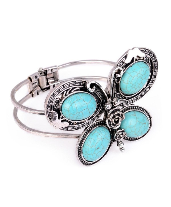 Huan Xun Women's Butterfly Shaped Bangle with Cracked Blue Turquoise Embellished - CL110AQ8YL7