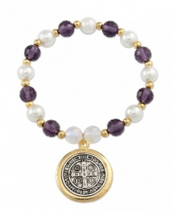 San Benito Medal Bracelet with Gold Plated- Crystals and Glass Simulated Pearl Beads- 3.5 Inch - CN11T2SSH8P