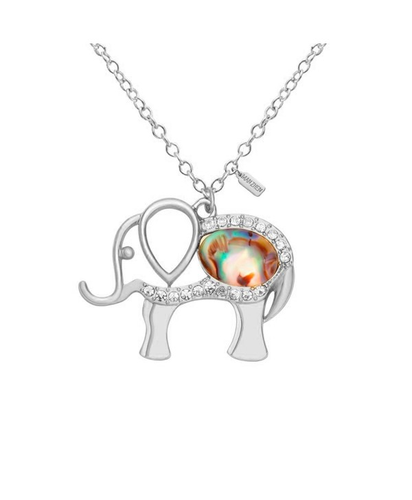 MANZHEN Lovely Crystal Elephant Pendant Abalone Shell Charm Necklace for Women Lucky Elephant Necklace - Silver - CX17XWCLMY5