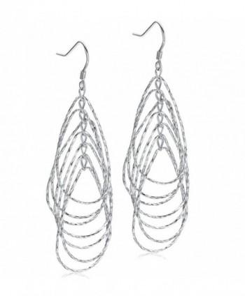 """Sterling Silver Circle Link Women Jewelry Drop Dangle Earrings 2"""" - CR1857ORNCM"""